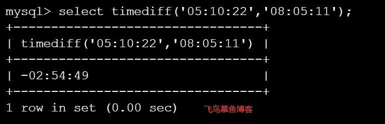mysql 计算两个时间的差值